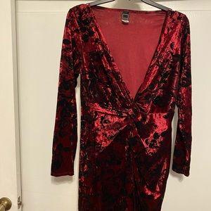 Red velvet mini dress